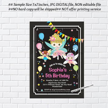 Fairy invitation, Fairy Birthday Invitation ,  girl 1st birthday chalkboard tutu, 1st 2nd 3rd 4th 5th 6th 7th 8th 9th 10th - card 206