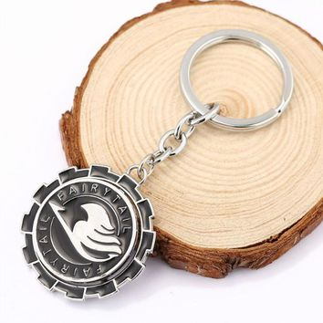 HSIC Anime Fairy Tail Keychains can Rotate Keys Chain Cosplay Pendant Key Rings for Keys Car Collection Gift HC11480