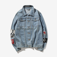 Men's Light Blue denim jackets New Male Classic style Outerwear & Coats cowboy JACKETS Jeans Jackets Slim fit Streetwear JACKETS