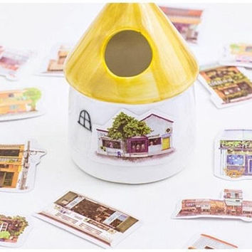 40 House sticker cartoon houses cute shop retro store vintage building farm hamlet flake sticker countryside toy house little house sticker