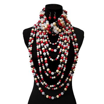 Red, Black, and White Pearl Long Layered 3 Pcs Set