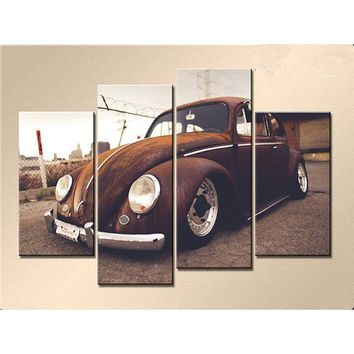 4 Panels Art Canvas Print Classic Antique Beetle Cars Vintage Poster Wall home Decor interior (No Frame)