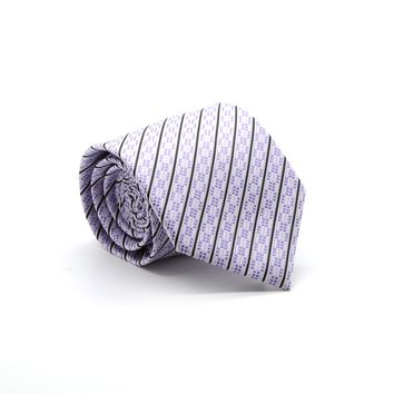 Ferrecci Mens Purple Striped Necktie with Handkerchief Set