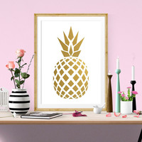 Pineapple Printable Art Print, Pineapple Gold Foil Print, Instant Download, Printable Home Decor, Digital Art Print, Blush Pink Gold Foil