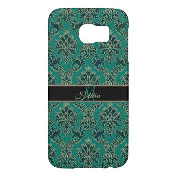 Personalized Teal Blue Green Damask Galaxy S6 Case