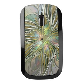 Floral Fantasy Modern Fractal Art Flower With Gold Wireless Mouse