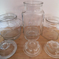 3 large Glass Apothecary Jars ~ Wedding Candy Buffet ~ Storage canisters ~