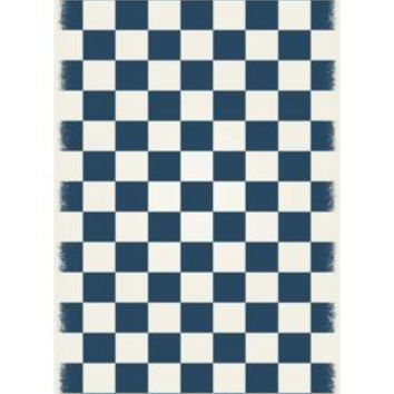 English Checker Design  Size Rug: 4ft x 6ft blue & white colors