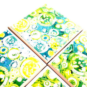 Abstract Ceramic Coasters Set Circles Yellow Tile Green