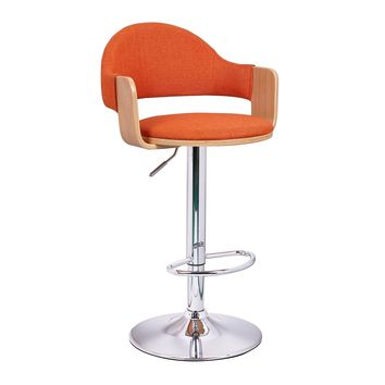 Adeco Orange Fabric and Light-Color Wood Cushioned Hydraulic Lift Adjustable Barstool Low Back Chrome Accent Pedestal Base
