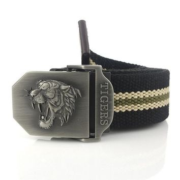 New Arrival Real Striped Adult Fashion Men Free tiger Leather Belt Ultra Long 140 Canvas Belt Man Automatic Buckle Strap Knitted