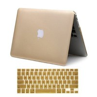 "Macbook Air 13"" Case, Iwotou Gold Frost Matte Surface Hard Shell Case Cover With Silicone Skin Protective Keyboard Film Cover For Macbook Air 13"" 13.3"" A1369 & A1466"