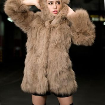 New Khaki Faux Fur Pockets Hooded Fashion Outerwear