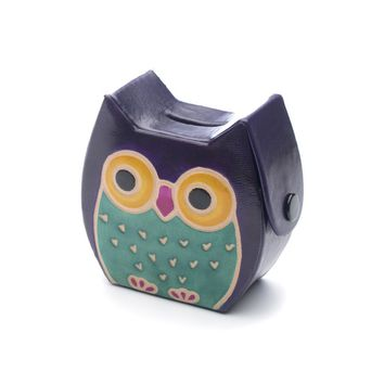 Leather Owl Coin Bank or Piggy Bank
