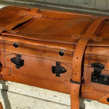 Brown Leather Suitcase, Straps and Buckles, Early 1900s Luggage with Key