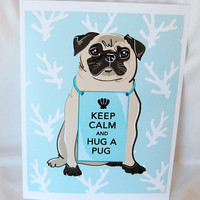 $16.00 Keep Calm Pug on Blue Coral Background  8x10 Print by AfricanGrey