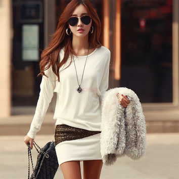 Korean Style New Elegant Women Dress Casual Stretchy Batwing Long Sleeve Sexy Dress Black/White = 1945669572