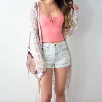 Connie Lace Up Top - Blush