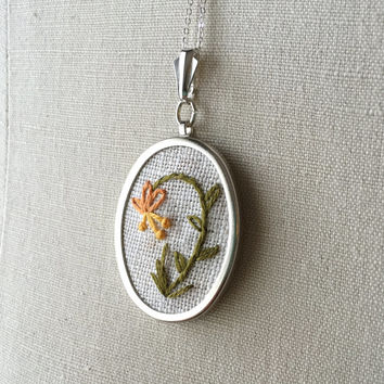Embroidered Nature Flower Honeysuckle Necklace Embroidery Jewelry Flower Pendant or Brooch