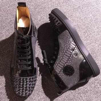 Cl Christian Louboutin Lou Spikes Style #2207 Sneakers Fashion Shoes - Sale