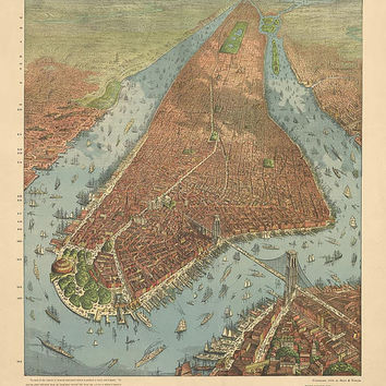 Antique Map of New York City (1879) - Archival Reproduction