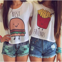Hot Summer French Fries/Hamburger Best Friends T-Shirts O-Neck Short Sleeve Tops Vest Tees