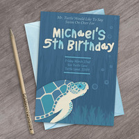 Printable Sea Turtle Invitation, Custom Under The Sea Turtle Party Invite, Under The Sea Invitation, Under The Sea Baby Shower Invitation
