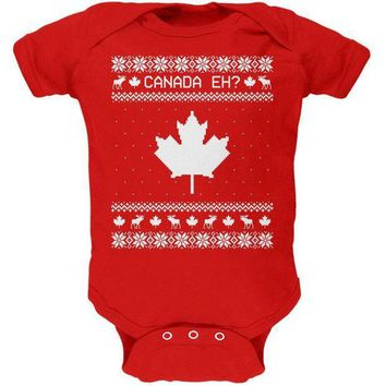 ICIK8UT Canadian Canada Eh Ugly Christmas Sweater Soft Baby One Piece