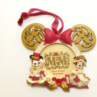 Disney Christmas Frame Ornament Victorian Minnie and Mickey New With Tags