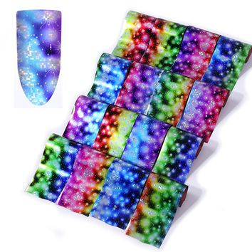 16pcs Gradient Fireworks Nail Foils Set Starry Sky Paper Colorful Rain Flower Transfer Sticker Manicure Nail Art Decoration