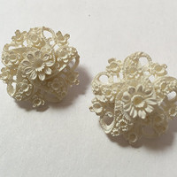 White Carved Celluloid Elaborate Floral Motif Clip  Earrings Vintage