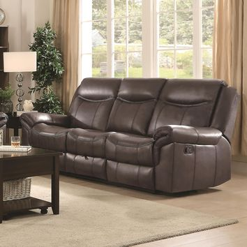 Motion Sofa With Pillow Arms And Outlet, Brown-Coaster