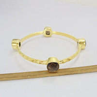 Smoky Quartz Bangle - Gold Vermeil Bangle - Bezel Set Bangle - Gift Ideas Bangle - Artisans Bangle - Daily Wear Bangle - Gift For Her