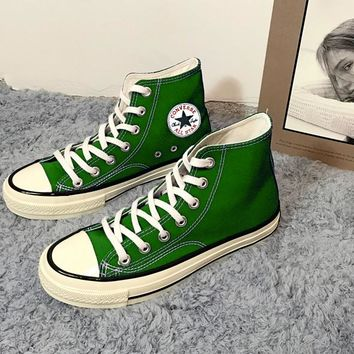 """Converse"" Fashion Casual Women Men High Tops Canvas Flats Sneakers Sport Shoes Green G"