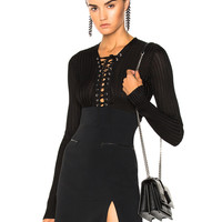 David Koma Lace Up Long Sleeve Knit Bodysuit in Black | FWRD