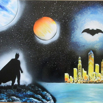 batman spray paint art,kids room decor,batman poster,batman gifts,batman painting,batman birthday,batman art,batman decor,large,24*30