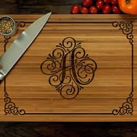 Personalized Cutting Board, Personalized Wedding Gift, Laser Engraved, Initial with Border Design, Housewarming Gift, Birthday Gift