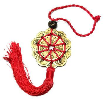 Red Chinese knot 10 Feng Shui Coins Lucky Charm for Abundance