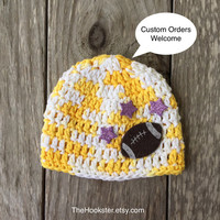 Handmade Football Baby Hat in White & Yellow, Baby Boy Beanie, Football Baby Beanie, Crochet Baby Cap Ready to ship Newborn Football Beanie