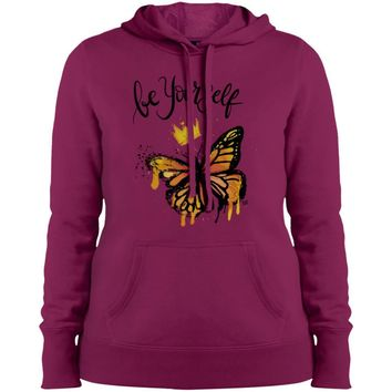 "Inspiring Butterfly Ladies' Pullover Hooded Sweatshirt - ""Be Yourself"""