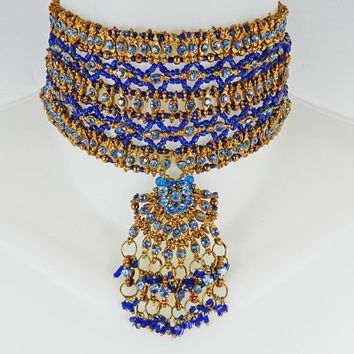 Massive Wide Vintage Blue Gold BEADED BIB Collar Necklace Tribal Bohemian Boho Chic Rare Big Statement Ethnic Bead Choker Gift for her