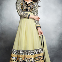 Light Yellow Georgette Abaya Style Anarkali Suit