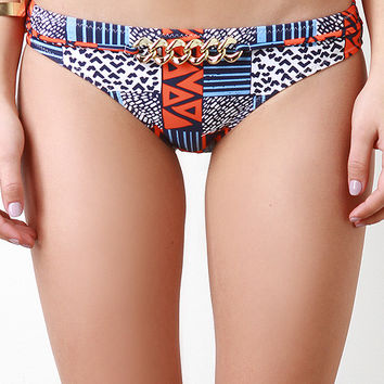 Chain Patch Print Bikini Bottom