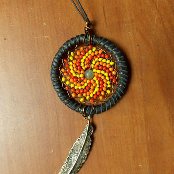 Dream Catcher Necklace with Green Aventurine or Car Rear View Mirror Decor // Fire Beaded Bohemian Pendant