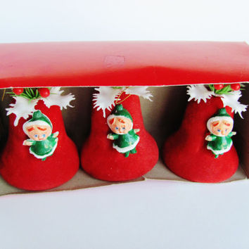 Vintage Christmas Tree Ornaments Red Bells Elves Plastic Bradford Novelty Company Retro Holiday 1970s Set of 3