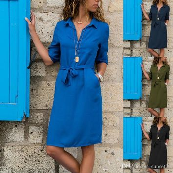 Women Lapel Solid Color Cropped Sleeve Shirt Dress v neck high waist lace-up casual dress for commuting