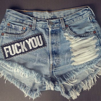 FUCK YOU High waisted denim shorts Levi studded distressed Grunge Hipster Tumblr clothing