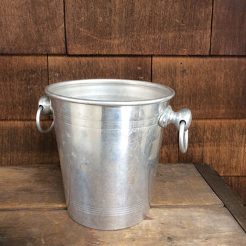 Vintage French champagne bucket with ring handles. France ice bucket aluminum bucket french ice bucket