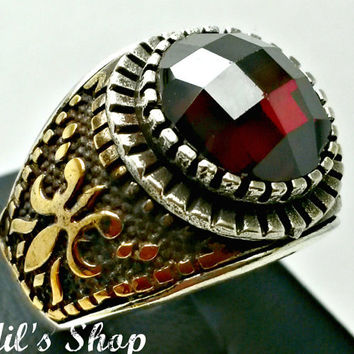 Men's Ring, Turkish Ottoman Style Jewelry, 925 Sterling Silver, Authentic Gift, Traditional, Handmade, With Garnet Stone, US Size 9.5, New