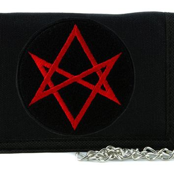 Red Unicursal Hexagram Symbol Tri-fold Wallet with Chain Occult Clothing